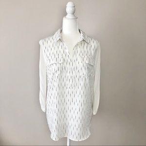 Kensie Jersey Back Collared Chest Pocket Shirt